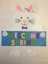 Welcome Spring Bunny Decoration , Decore , Green, Yellow, White, Pink, Purple