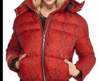 Women's Guess Vestee Red Baddie Print Padded Puffer Anorak Jacket  Hood Size XS