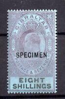 Gibraltar KEVII 1903 8/- SG#54s mint MH Specimen WS20930