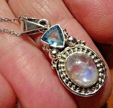 Superb Sterling Silver, Blue Moonstone & Blue Topaz & Sterling Silver Chain