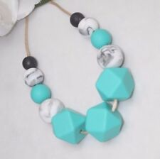 Silicone sensory (was teething) necklace for mum jewellery baby tapuu  turquoise