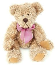 "Russ Berrie Harlington teddy bear tan 11"" beany plush toy pink bow plastic eyes"