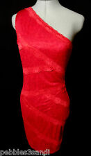 New STITCH Scalloped LACE Bodycon Dress women S Red pencil Wiggle Stretch knit