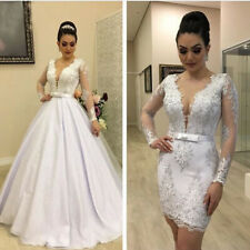 Luxury Wedding Dresses Sexy Sheer V Neck Bridal Gowns Detachable Train Appliques