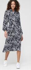 V By Very Tie Front Midi Shirt Dress Animal UK Size 8 Brand New