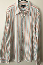OXFORD Italian Fabric Orange/blue Striped Shirt Size XL EUC. Combined Post