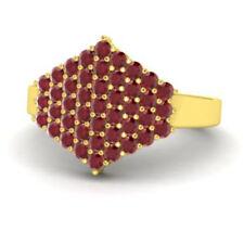 0.86 Ct Natural Gemstone Ruby Wedding Ring 14K Solid Yellow Gold Size M N J K I