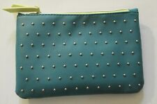 Ipsy Silver Studs Green Cosmetic Bag with Naked Cosmetics Eyeshadow