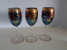 (3) Calici Blue Tinted Wine Goblets W/Gold Design & Trim Made in Italy