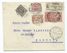 STORIA POSTALE 1925 REGNO 4 VALORI SU RACCOMANDATA/ESPRESSO PARMA 17/3 D/4034