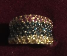 Stunning 18K White Gold Multi-Coloured Sapphire..wide Band-blue/pink/yellow