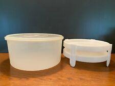 4 Piece Vintage Tupperware Pie Cake Storage Container w/ 2 Dividing Trays & Lid