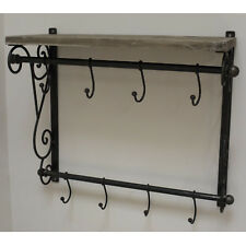 New Black Railway Luggage Rack Coat Hooks Hanger Storage Wooden Shelf Unit 47cm