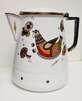 "GEORGES BRIARD ROOSTER Coffee Pot Percolator White Enamel 9"" Hen VTG RARE"
