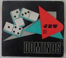 Ancien jeu de dominos en plastique / Dominos blancs à dos rouge Marque Same