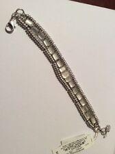 $39 Lucky Brand Silver Tone Quartz Link Bracelet #113