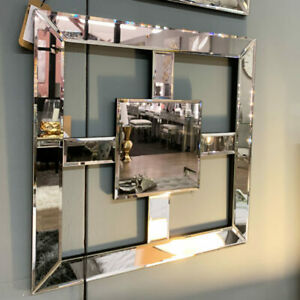 Square Mirrored Wall Art Mirror Picture Contemporary Shiny Decor Squared 40cm