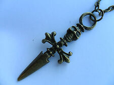 Lovely Skull Sword Bronze Chain  Necklace