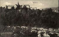 Schwarzburg Thüringen alte Postkarte ~1920/30 Blick über die Stadt auf die Burg