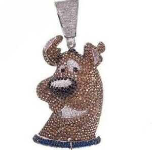 14k White Gold Over Sterling Silver Scooby Dooby Doo Fully Iced Pendent