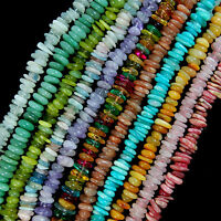 """3-5x8-13mm Natural Gemstone Freeform Rondelle Disc Spacer beads Jewelry 15"""" lot"""
