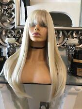 Blonde human hair wig, Lace Front Wig, Bangs Fringe Wig, Ombré lace front Ombré