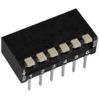 2 ECE EPH-106-LZ DIP-Schalter 6-polig Piano 24V DC 25mA DIL Switch RM2,54 855924