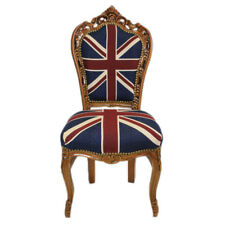 CHAIRS FRANCE BAROQUE STYLE DINING ROYAL CHAIR MAHOGANY / UNION JACK  #60ST5
