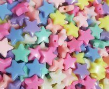 100 pcs Star Pastel Beads DIY Handmade Plastic Kids Crafts Decorate Art