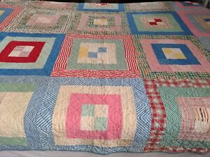 Vintage 16 Square Patchwork Quilt