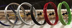 """Micargi 26""""x 4.0 Bicycle front Fat Disc Brake Wheel Black Red Green Polish White"""