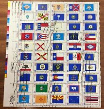 1976 USA 13c bicent- state flags sheet of 50 used