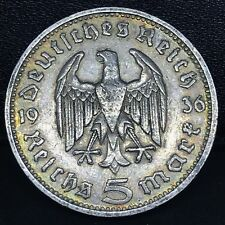 GERMANY, 1936 G~ THIRD REICH 5 MARK  Silver, No Swastika-Hindenburg Issue. KM#94