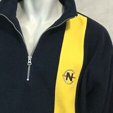 Nautica Competition Nautech Fleece Sz L Sweatshirt Racing Strip Blue Yellow USA
