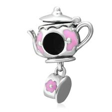 Teapot And Cup Charm Bead Dangle 925 Sterling Silver