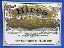 Original Antique Charles HIRES SODA BOTTLE Embossed LABEL Philadelphia ROOT BEER