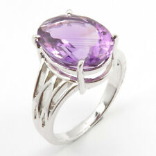 925 Stamp AMETHYST Solid Sterling Silver Size 7.5 Ring Natural Gemstone Jewelry