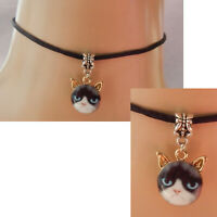 Cat Choker Necklace Pendant Jewelry Handmade NEW Black Chain Face Silver Eyes