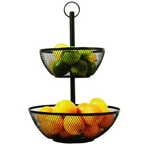 2 Tier Fruit Vegetable Basket Bowl Kitchen Power Coated Iron Black