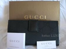 NEW GUCCI Black GG Satin Leather Checkbook Credit Cards Coin Purse Wallet Clutch