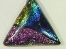 "BUTW Gorgeous Dichroic Glass 38mm 2Tone Triangle Pendant w/ 18"" SP Chain 8737D"