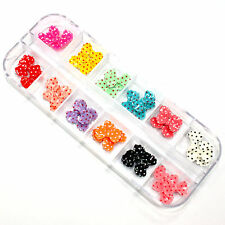 36 PCS Colorful Acrylic 3D Bow Tie Slice for UV Gel Nail Art Tips DIY Decoration