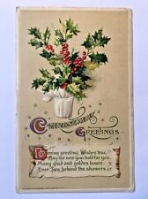 Antique 1912 Postcard Winsch Christmas Greetings Potted Holly Plant