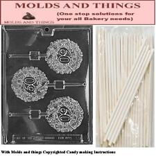 L030 Number 60 Lolly Chocolate candy mold +25 Sticks