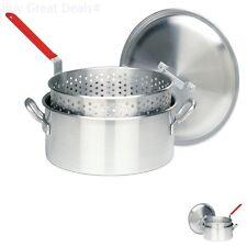 14 Quart Deep Fryer Pots Baskets Aluminum Fry Fish Chicken Hushpuppies Fries