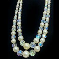 Vintage Bib Necklace Aurora Crystal Glass Pearl Beads 2 Strand