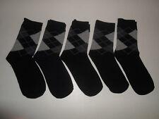 5 Pairs Mens Argyle Black Gray Fashion Crew Dress Socks Shoe Size 6-11 Diamond
