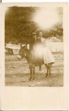 Man Woman On Burro Donkey Mule 10000 Ft DENVER CO Real Photo PM 1908 Postcard