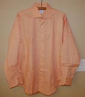 Brooks Brothers Made in USA Italian Fabric Orange Long Sleeve Shirt Cotton 16-34