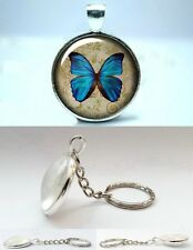 Morpho Butterfly - Silver Tone Photo Glass Dome Keyring